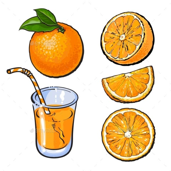 Oranges and a Glass of Freshly Squeezed Juice