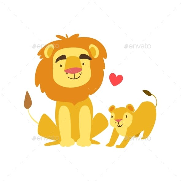 Lion Dad Animal Parent And Its Baby Calf
