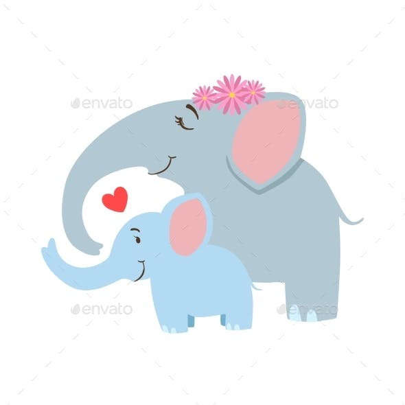 Elephant Mom With Frower Wreath Animal Parent And