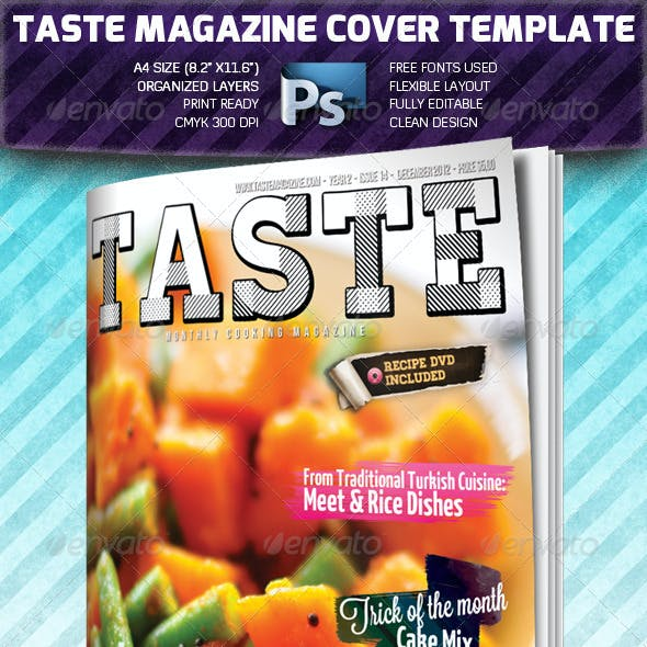 Taste A4 Magazine Cover Template