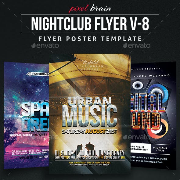 Night Club Party Flyer Template Bundle Vol - 08