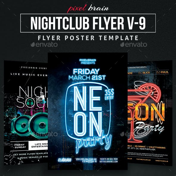 Night Club Party Flyer Template Bundle Vol - 09