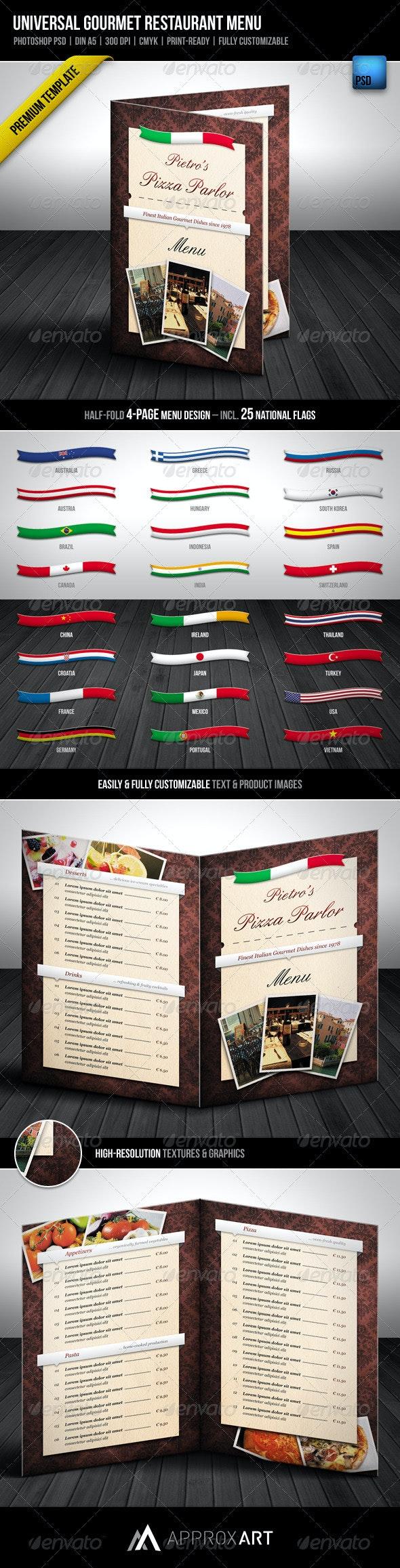 Universal Gourmet Restaurant Menu - Food Menus Print Templates