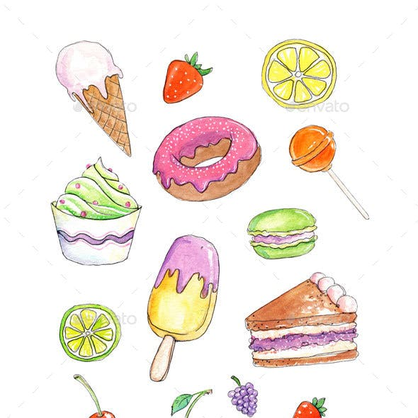 Set of 15 Watercolor Sweets and Cakes Sketches