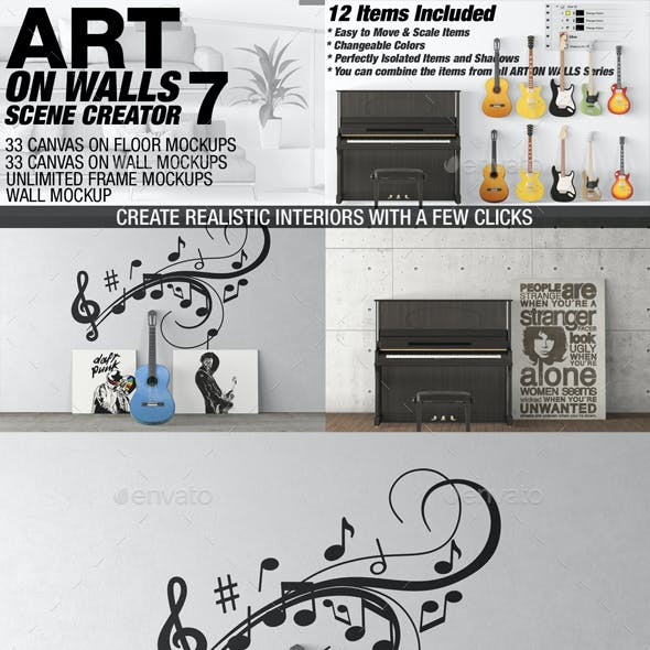 Art On Walls Mockup - Canvas Mockups - Frame Mockups - Wall Mockups Vol 7