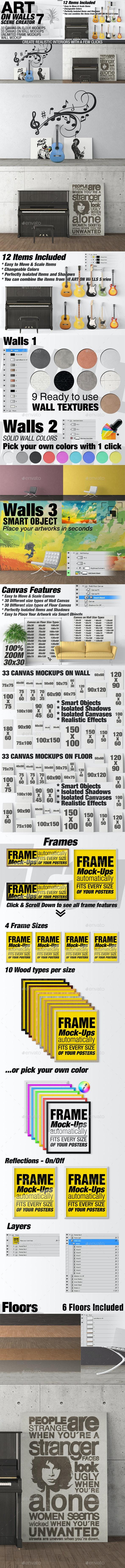 Art On Walls Mockup - Canvas Mockups - Frame Mockups - Wall Mockups Vol 7 - Miscellaneous Print