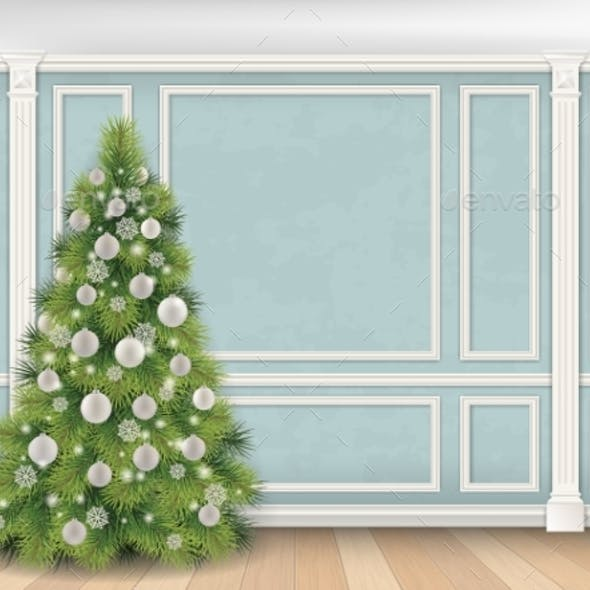 Christmas Tree on Blue Wall with Pilasters