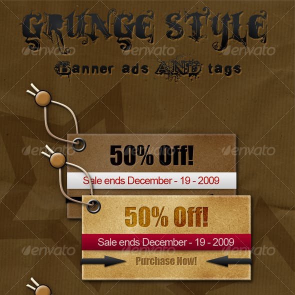 Torn Grunge Style Banner Ads/Tags