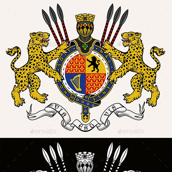 Coat of Arms of Knight with Leopards