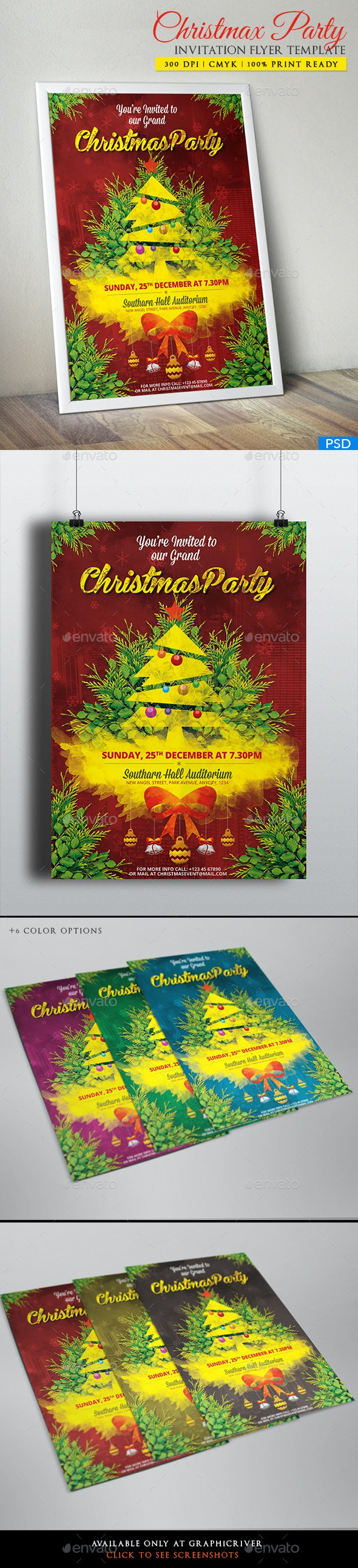Christmas Party Invitation Flyer/Poster | PSD Flyer Template - Holidays Events