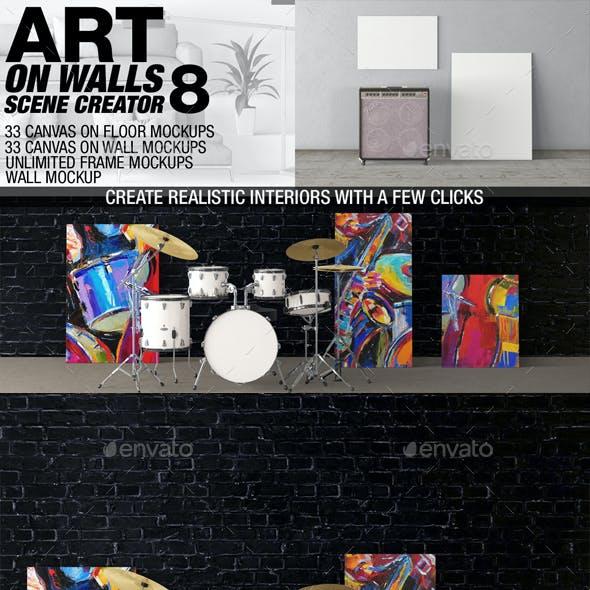 Art On Walls Mockup - Canvas Mockups - Frame Mockups - Wall Mockups Vol 8