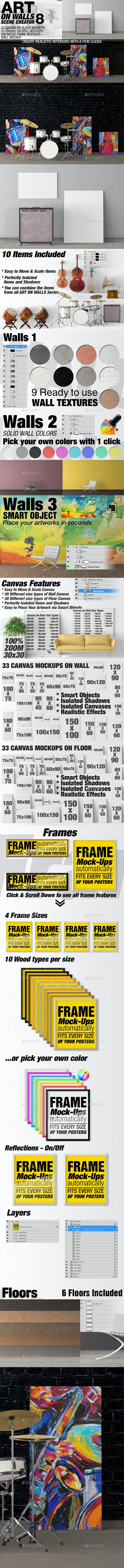 Art On Walls Mockup - Canvas Mockups - Frame Mockups - Wall Mockups Vol 8 - Miscellaneous Product Mock-Ups