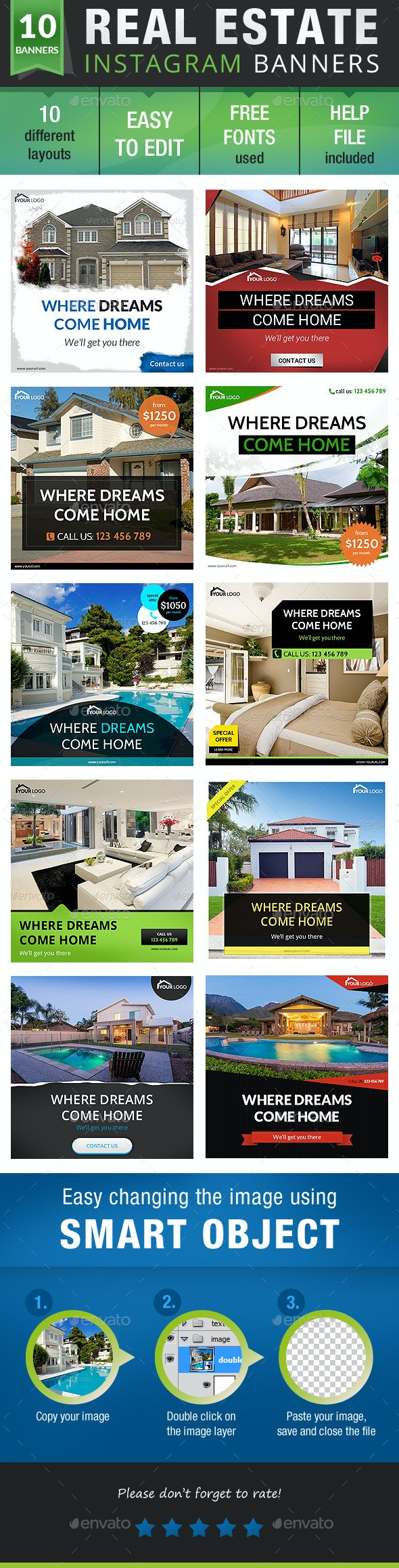 Real Estate Instagram - Banners & Ads Web Elements
