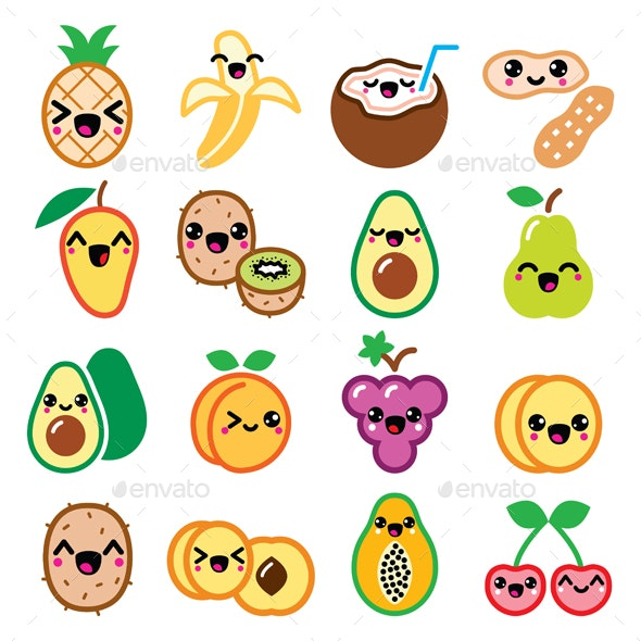 Kawaii Fruit and Nuts Character Icons Set - Food Objects