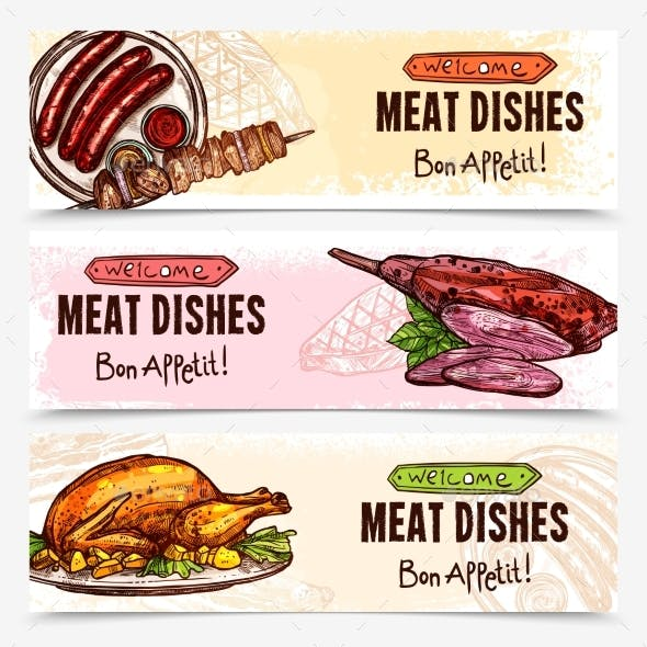 Hand Drawn Meat Horizontal Banners