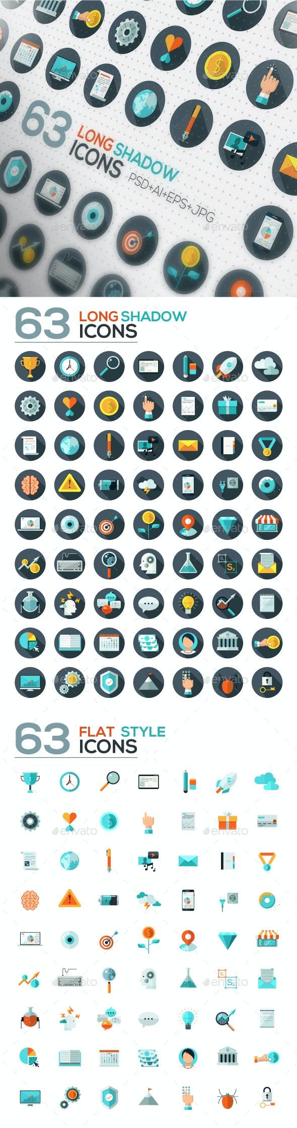 126 Flat Designed Icons Set - Business Icons