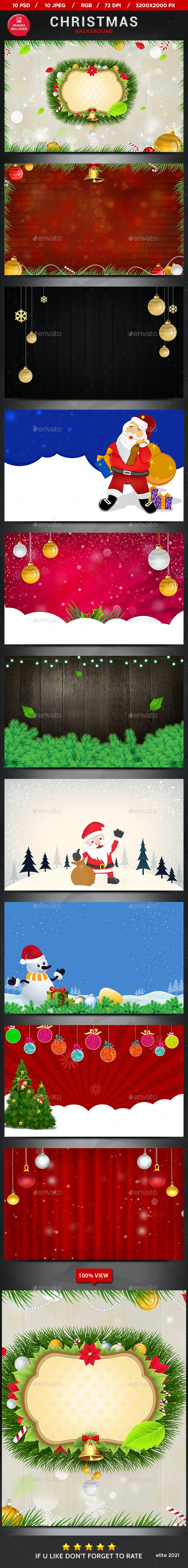 Christmas Backgrounds - 10 Designs - Backgrounds Graphics