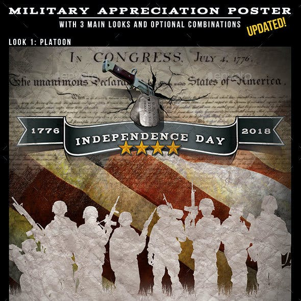 Independence Day Military Themed Design for Posters & Flyers