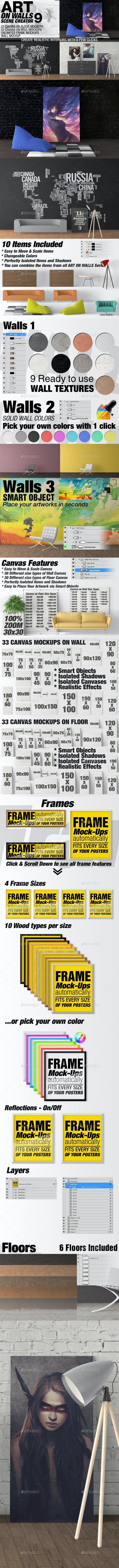 Art On Walls Mockup - Canvas Mockups - Frame Mockups - Wall Mockups Vol 9 - Miscellaneous Product Mock-Ups