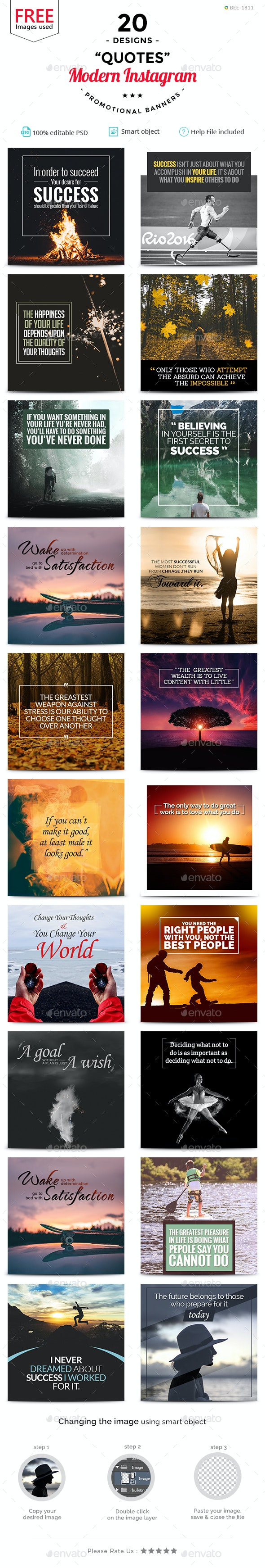 Quotes Instagram Templates - 20 Designs - Free Images - Miscellaneous Social Media