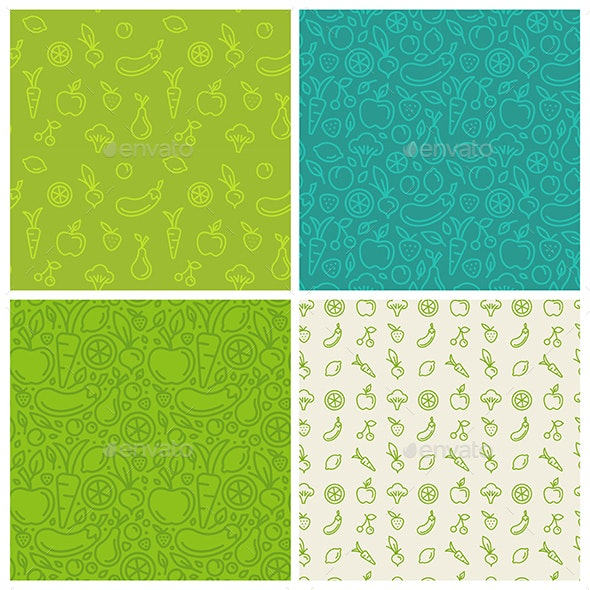 Fruits and Vegetables - Seamless Patterns - Patterns Decorative