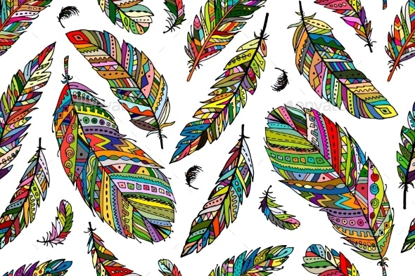 Feather Seamless Pattern for Your Design - Patterns Decorative