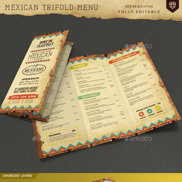 Trifold Mexican Food Menu