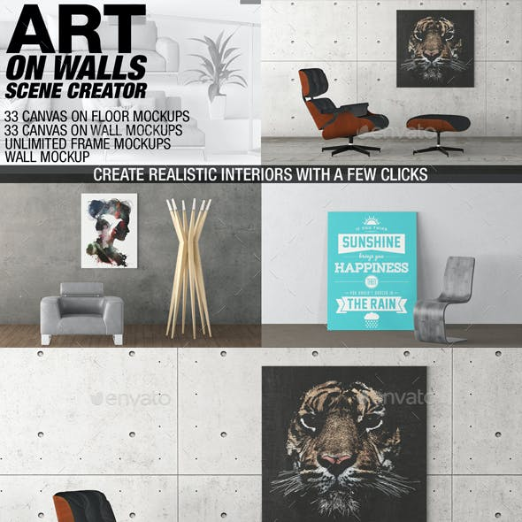 Art On Walls Mockup - Canvas Mockups - Frame Mockups - Wall Mockups Vol 10
