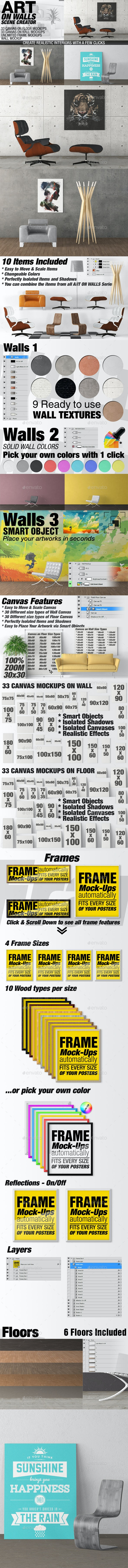 Art On Walls Mockup - Canvas Mockups - Frame Mockups - Wall Mockups Vol 10 - Miscellaneous Product Mock-Ups