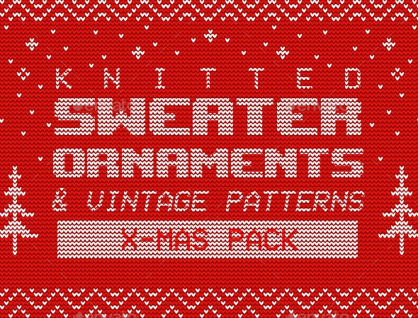 Knitted Sweater Ornaments & Vintage Patterns – X-Mas Pack - Patterns Decorative
