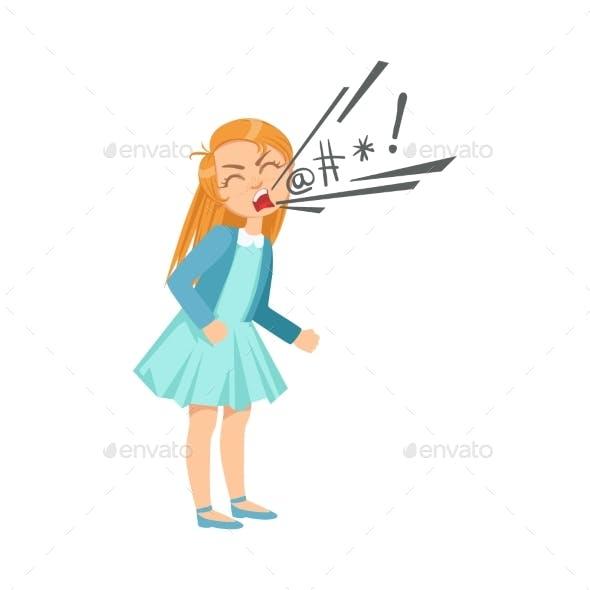 Girl Cursing Teenage Bully Demonstrating