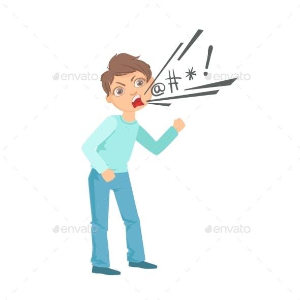 Boy Cursing Teenage Bully Demonstrating