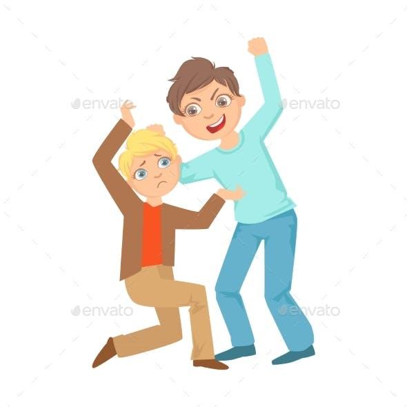 Boy Beating Up Smaller Kid Teenage Bully