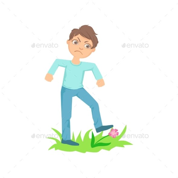 Boy Walking On Lawn Grass Breaking Flowers Teenage