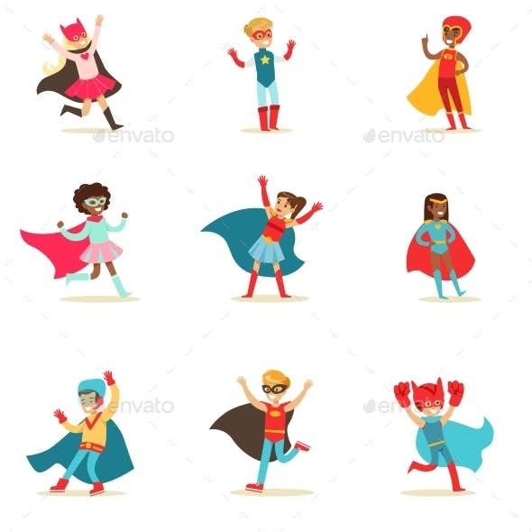 Children Pretending To Have Super Powers Dressed