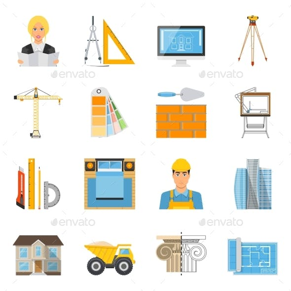 Architect Flat Colored Icons Collection