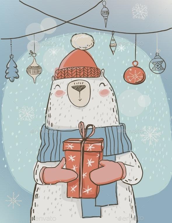 Polar Christmas Bear with Present Box - Christmas Seasons/Holidays