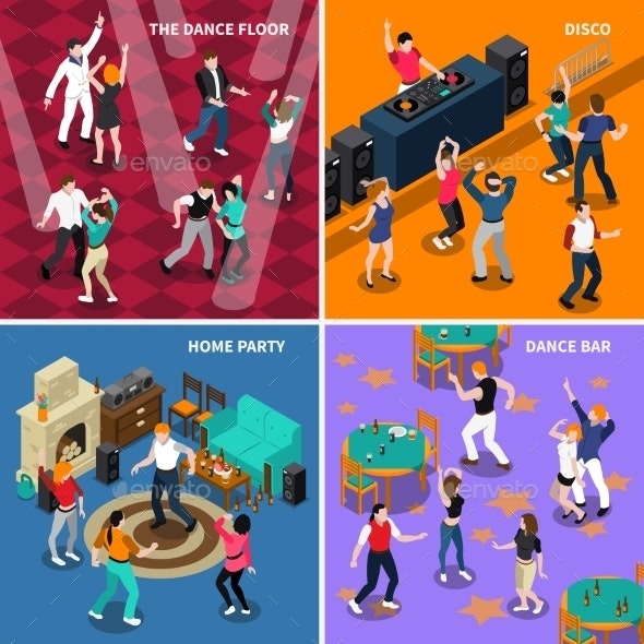 Dancing People 4 Isometric Icons Square - Miscellaneous Conceptual
