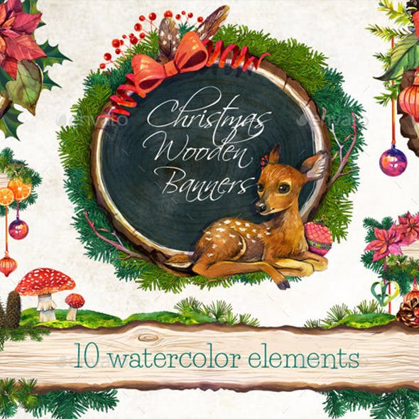 Christmas Wooden Banners /Christmas Watercolor Clip Art