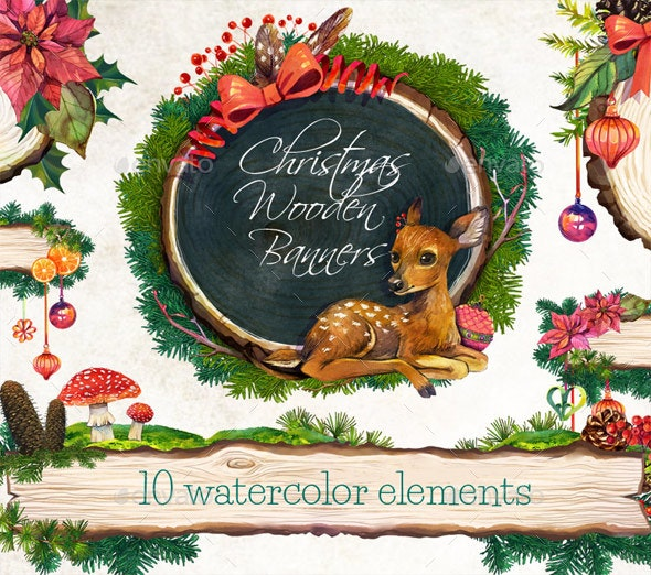 Christmas Wooden Banners /Christmas Watercolor Clip Art - Objects Illustrations