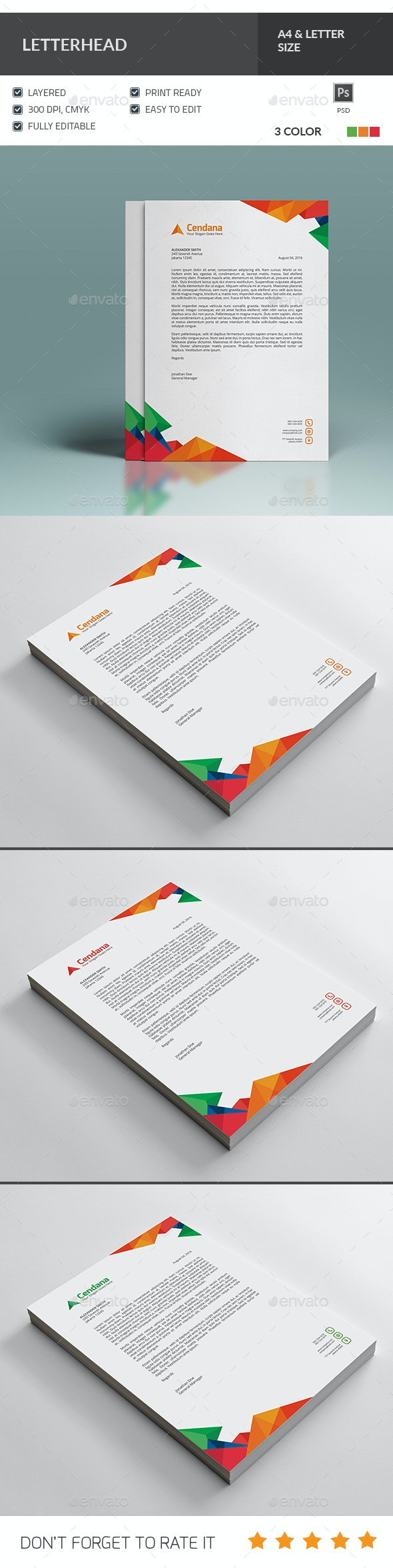 Multicolor Letterhead Template - Stationery Print Templates