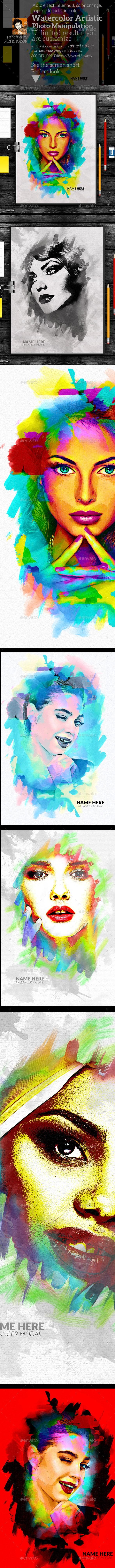 Watercolor Artistic Photo Manipulation - Artistic Photo Templates