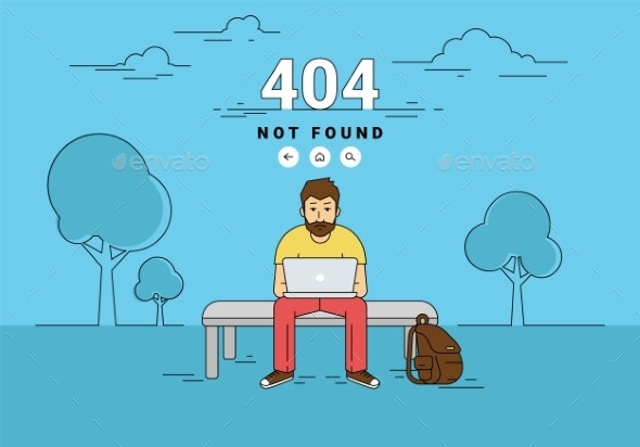 Man with Laptop 404 Page Not Found Error - People Characters