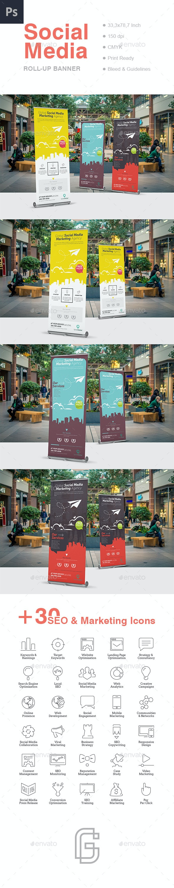Social Media Roll-Up Banner - Signage Print Templates