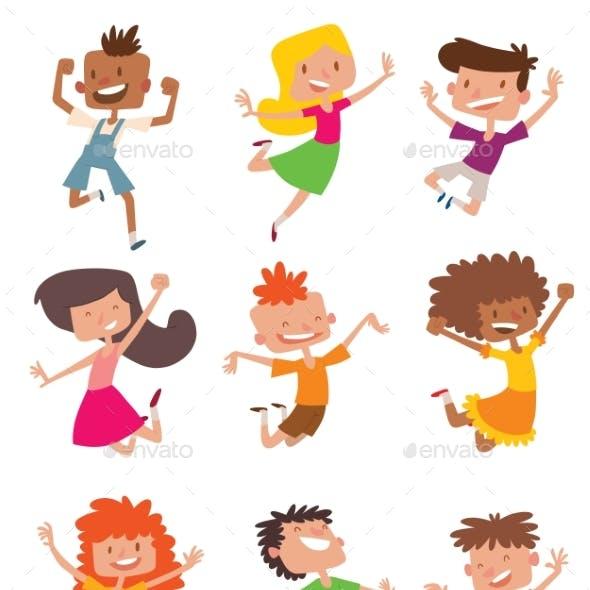 Happy Children in Different Positions Vector Set