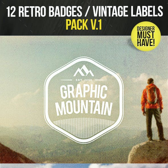 12 Retro Badges / Vintage Labels V.1