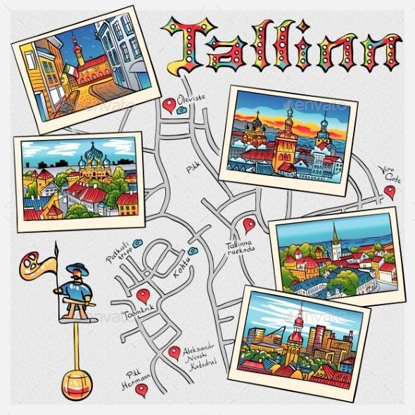 Vector Medieval Old Town Tallinn Estonia