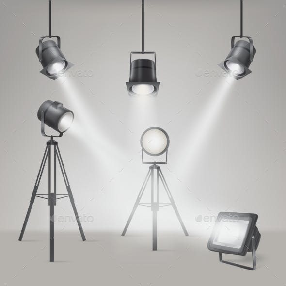 Set of Vector Scenic Spotlights