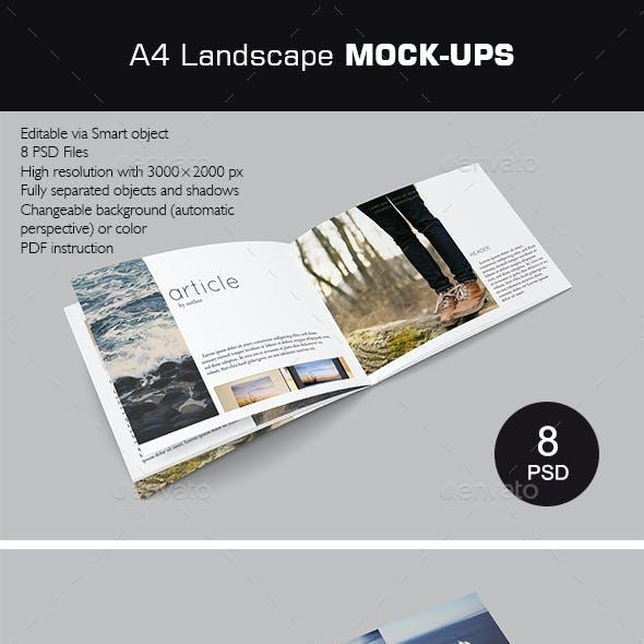 A4 landscape Brochure Mock-Ups