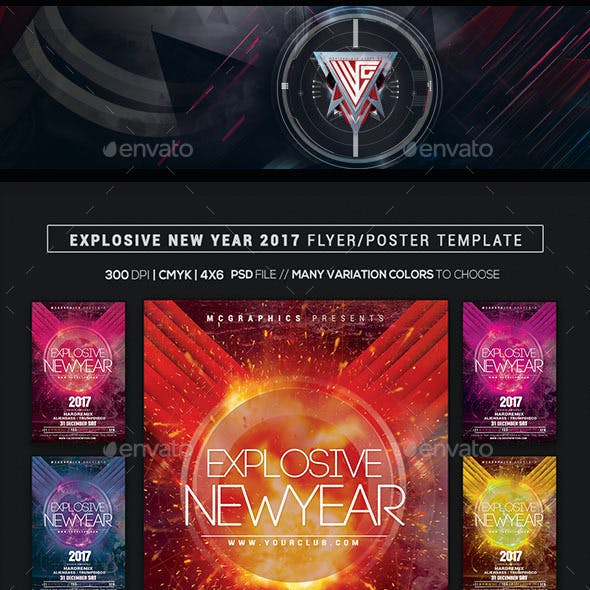 Explosive New Year 2017 Flyer/Poser Template